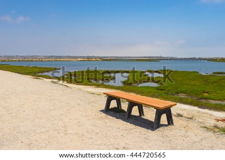 Gravel walking path and bench beside watery swamp. - stock photo
