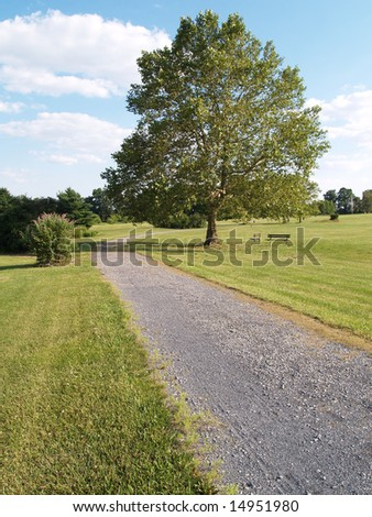 gravel walking path in a park setting