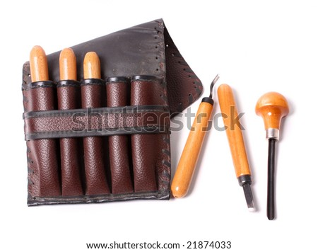 gravers in brown case - stock photo