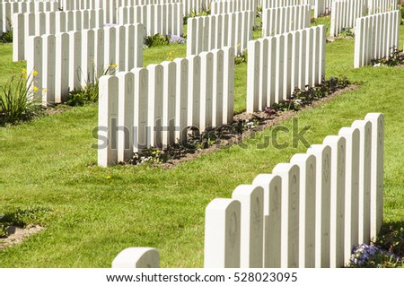 Graves from unknown soldiers in Ypres