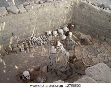 Graves of Nazca culture in Peru - stock photo