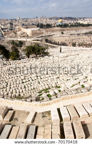 Graves on the Mount of Olives and a view on Old Jerusalem, Israel