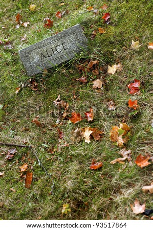"""Gravestone in an old cemetery during autumn which reads only, """"Alice"""". - stock photo"""