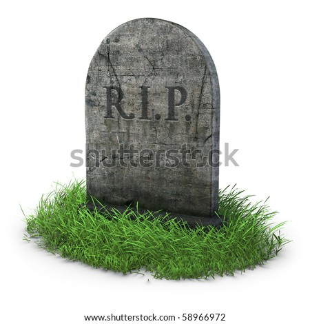 gravestone with grass on white background - stock photo