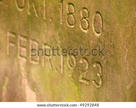 gravestone with inscribtion - stock photo