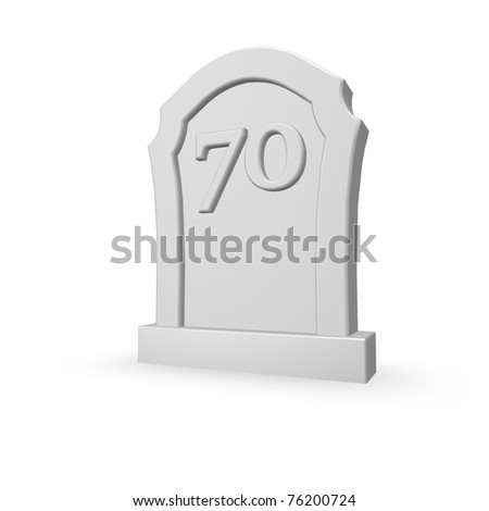 gravestone with number seventy on white background - 3d illustration