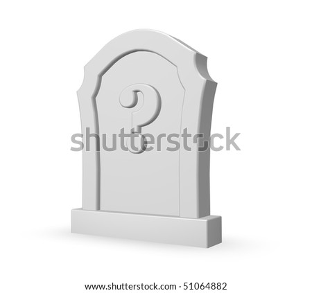 gravestone with question mark on white background - 3d illustration - stock photo