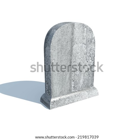 Gravestone with shadow isolated on white background - stock photo