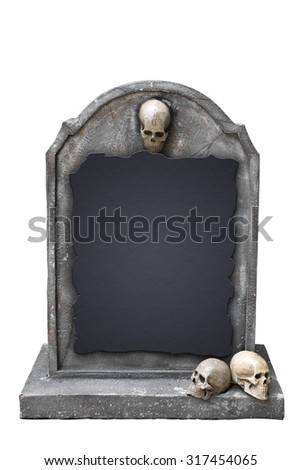 gravestone with skull isolated on white background with clipping path - stock photo
