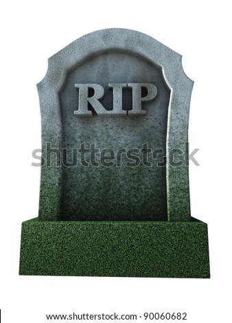 gravestone with the letters rip - 3d illustration - stock photo