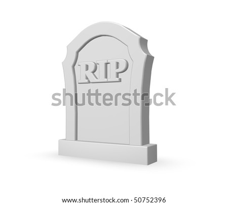 gravestone with the letters rip on white background - 3d illustration