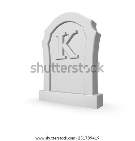 gravestone with uppercase letter k on white background - 3d illustration - stock photo
