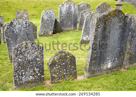 gravestones at ancient graveyard in St Caniceâ??s Cathedral in kilkenny city ireland  - stock photo