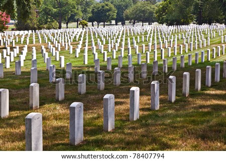 gravestones at Arlington National Cemetery - stock photo