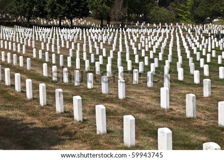 Gravestones at the Arlington national Cemetery near Washington