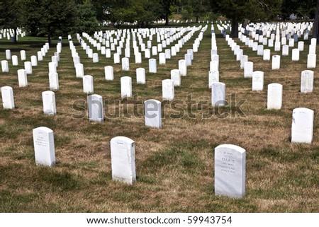 Gravestones at the Arlington national Cemetery near Washington - stock photo