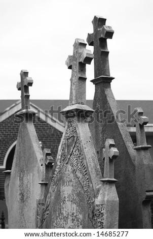 Gravestones in black and white - stock photo
