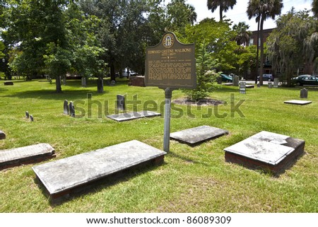 gravestones in Colonial Park Cemetery in Savannah - stock photo