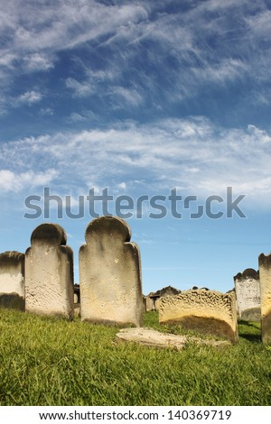Gravestones in Quiet Graveyard