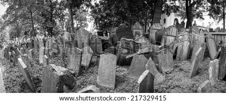 Gravestones inside Ebraic Cemetery in Prague - stock photo