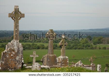 graveyard at the 12th century medieval Celtic Rock of Cashel, Ireland - stock photo