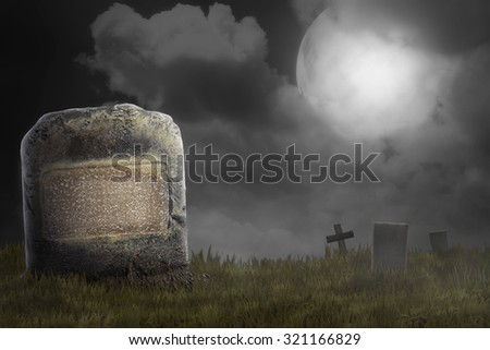 Graveyard on the scary night. Halloween concept background - stock photo