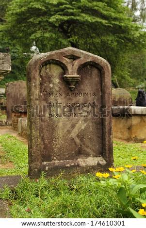 graveyard tombstone - stock photo
