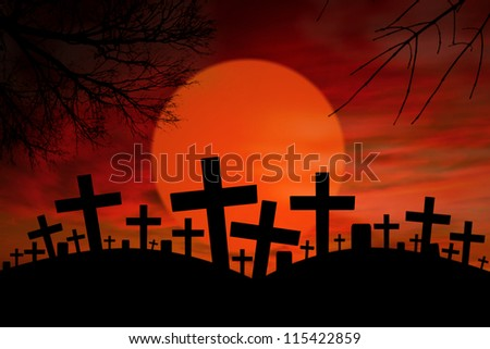 Graveyard with cross signs on them during full moon - stock photo
