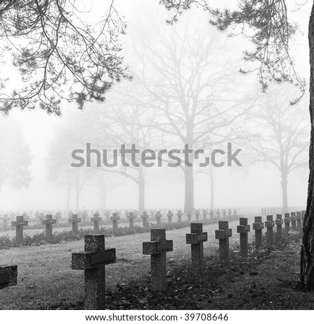 graveyard with rows of crosses and trees in the autumn mist monochrome film grain fog cemetery - stock photo