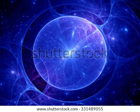 Gravitational lens in space, computer generated abstract background - stock photo