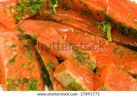 gravlax made from coho salmon - stock photo