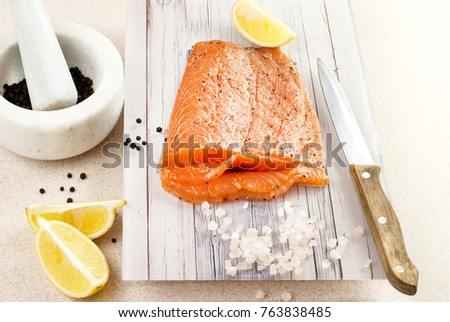 Gravlax marinated salmon. Salmon appetizer. Fish dish. Food and drink