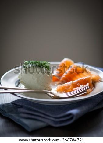 Gravlax with horseradish muse - stock photo