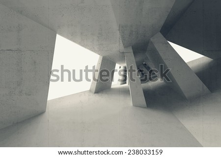Gray abstract 3d empty interior with bent perspective - stock photo