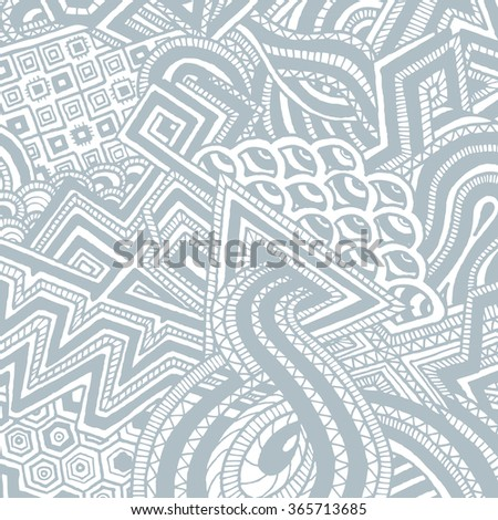 gray abstract monochrome zentangle hand drawn doodle background illustration on white background