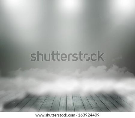 Gray Abstract Spotlight Room - stock photo