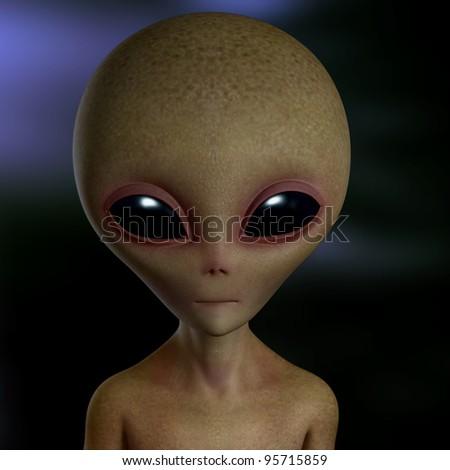 gray alien - stock photo
