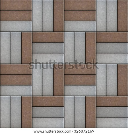 Gray and Brown Pavement of Rectangles Laid Out on Three Pieces. Seamless Tileable Texture. - stock photo