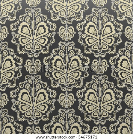 Gray and gold decorative royal seamless floral ornament - stock photo