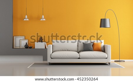 Gray And Orange Modern Living Room With Sofa   3d Rendering