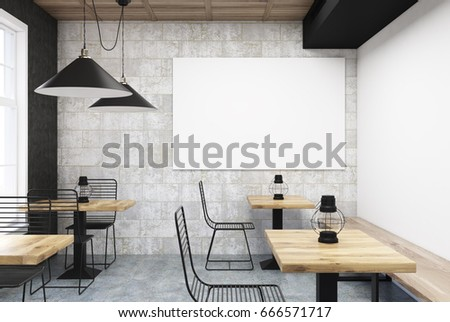 gray and white cafe interior with old oil lamps on square wooden tables and a large - Large Cafe Interior