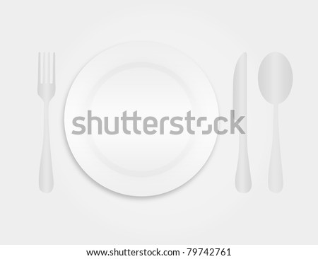 gray and white dinner plate and cutlery over gray background