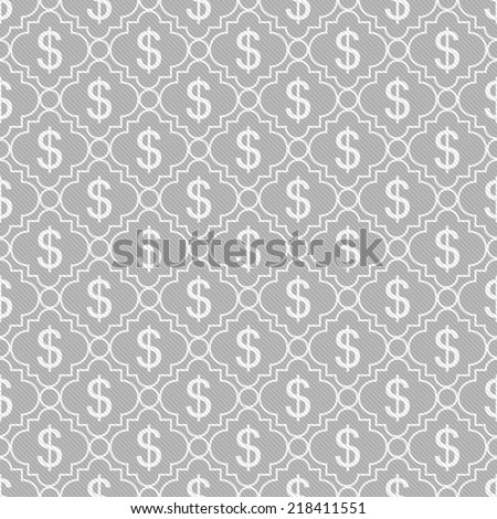 Gray and White Dollar Sign Pattern Repeat Background that is seamless and repeats - stock photo