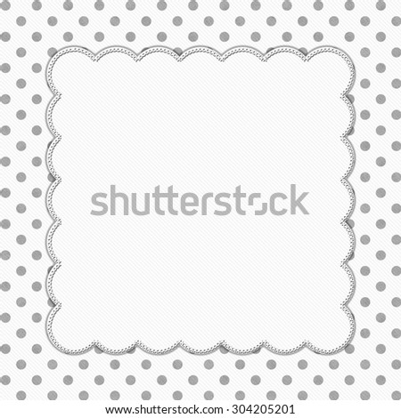 Gray and White Polka Dot Frame with Embroidery Stitches Background with center for your message