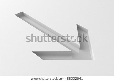 gray arrow on white background - stock photo