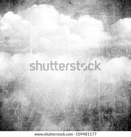 Gray background image for the photo album, photo book with grunge scratches texture and clouds