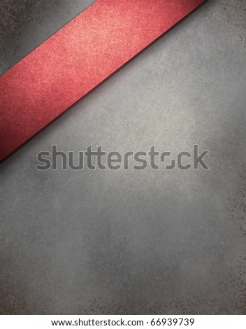 gray background with graphic art design angled red stripe, highlight, vintage grunge texture and copy space to add your own text - stock photo