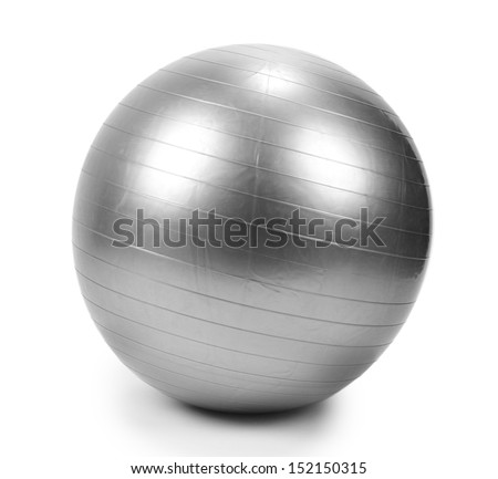 Gray  ball for fitness isolated on white - stock photo