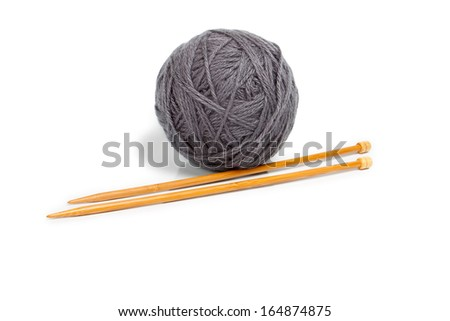 Gray ball of yarn for knitting - stock photo