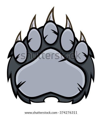 Gray Bear Paw With Claws. Raster Illustration Isolated On White - stock photo